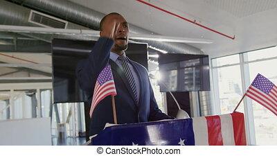 convention, victorieux, politique, mâle, orateur