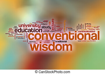 Conventional wisdom word cloud with abstract background