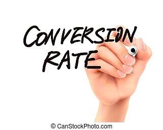 conversão, taxa, mão escrita, palavras, 3d