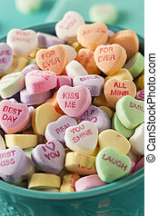 conversação, corações, Dia, doce, valentine