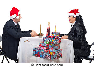 conversação, par, jantar, natal, tabela
