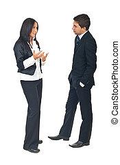 conversação, pessoas negócio
