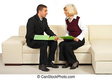 conversação, pessoas, tendo, negócio, dois