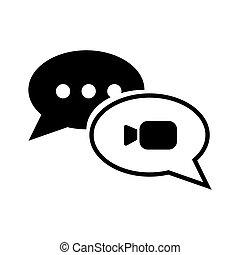 conversa, ícone, em, trendy, apartamento, estilo, isolado, branco, experiência., borbulho fala, símbolo, para, seu, web site, desenho, logotipo, app, ui., illustration.