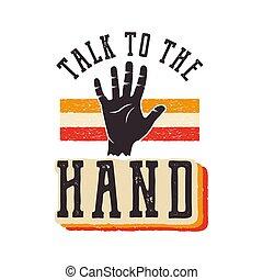 conversa, a, mão., a, 90s, estilo, etiqueta, retro, poster.,...