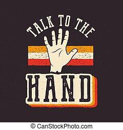 conversa, a, mão., a, 90's, estilo, etiqueta, retro,...