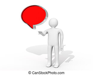 conversa, balloon, branco, experiência., isolado, 3d, imagem