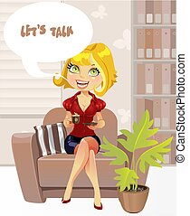 conversa menina, oferece, -let's, poltrona