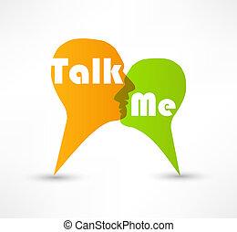 conversa, mim, conceito, fala, bolhas