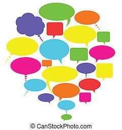 conversa, pensamento, e, fala, bolhas