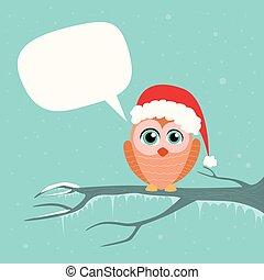 conversa, ramo, árvore, bolha, comunicação, inverno, coruja, santa, sentando, chapéu natal