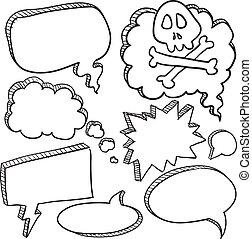 conversación, burbujas, discurso, caricatura