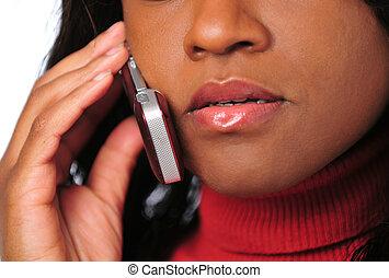 conversación de mujer, en, teléfono celular