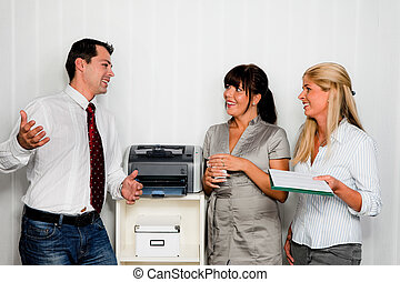 conversación, empleados, oficina