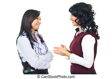 conversación, mujeres, teniendo, dos, feliz