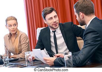 conversación, reunión, empresa / negocio