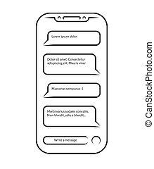 conversando, e, messaging., vetorial, esboçado, ícone, de, smartphone, com, aberta, mensageiro, app, janela, isolado, branco, experiência., contorno, de, telefone pilha, com, conversa, mensagem, notifications., social, rede, concept.