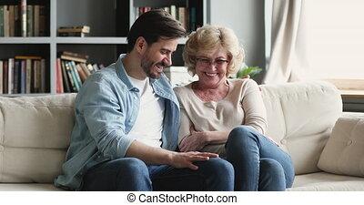 conversation, 2, liaison, gai, rire, générations, famille, ...