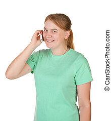 conversation, adolescente, téléphone