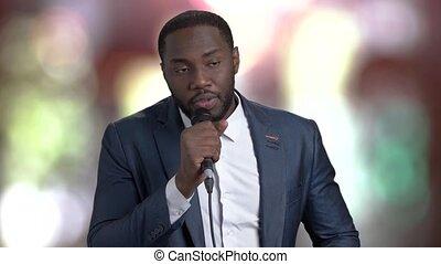 conversation, afro-américain, microphone., homme