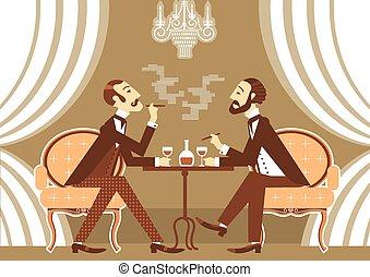 conversation, alcool, club, vecteur, boire, messieurs