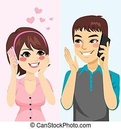 conversation, amants, téléphone