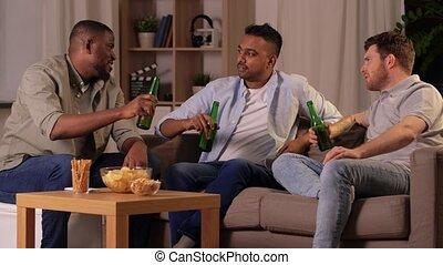 conversation, amis, mâle, bière, boire, maison