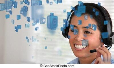 conversation, animation, sur, course, mélangé, icônes, femme, écouteurs, sourire, bleu