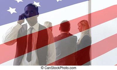 conversation, animation, sur, homme affaires, sien, onduler drapeau, américain, collègues, smartphone
