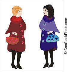 conversation, après, achats, deux femmes