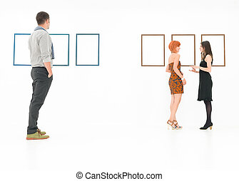 conversation at art exhibition