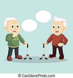 conversation, autre, vieil homme, chaque