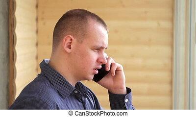 conversation, beau, téléphone, homme affaires