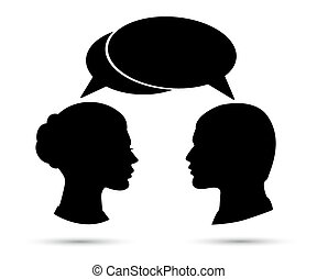 Conversation between man and woman. Black silhouette