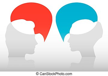 Conversation between man and woman, concept
