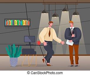 Conversation Between Partners Colleagues in Office
