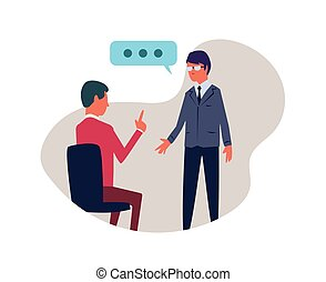 Conversation between two people. Vector illustration, isolated on white background.