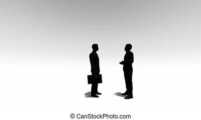 conversation, blanc, silhouette, deux personnes