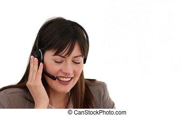conversation, brunette, téléphone, femme affaires