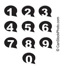 conversation, bulle, nombres, icônes