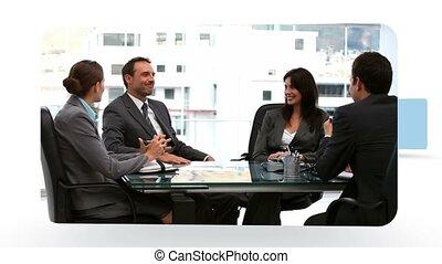 conversation, bureau, business, mettings, montage, gens, téléphone, pendant