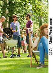 Conversation by the barbecue