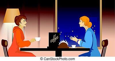 conversation, café, deux femmes