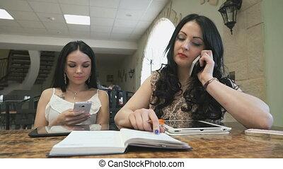 conversation, café, filles, deux, business