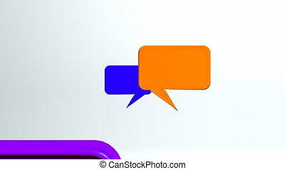 conversation, chaud, coloré, icônes