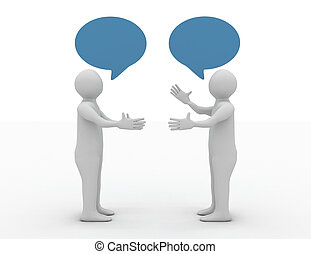 conversation, concept, deux, équipe