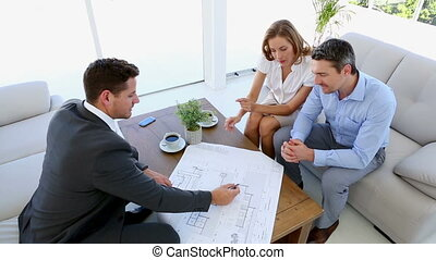 conversation, couple, architecte, leur