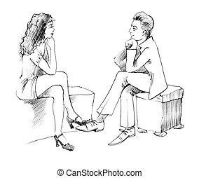 conversation, couple
