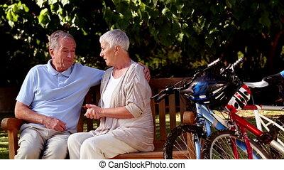 conversation, couple, mûrir, ensemble