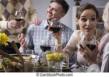conversation, couple, parents, personnes agées